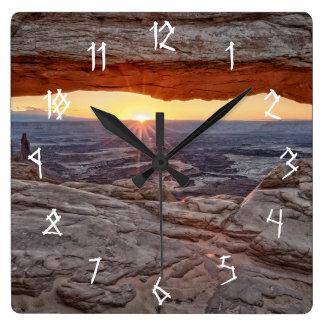 Sunrise at Mesa Arch, Canyonlands National Park Square Wall Clocks