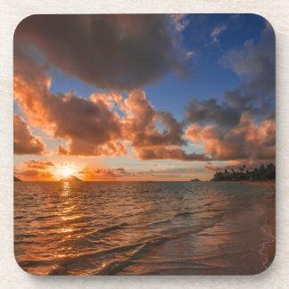 Sunrise At Mokulua Island Beverage Coaster