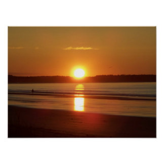 Sunrise at Old Orchard Beach, Maine Poster