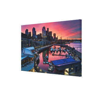 Sunrise at pier 66 looking down on bell harbor canvas print