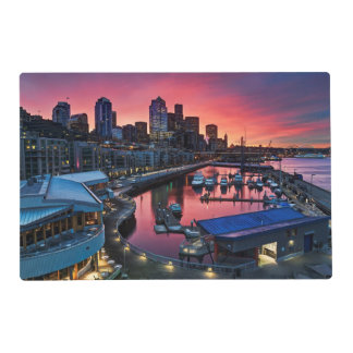 Sunrise at pier 66 looking down on bell harbor placemat
