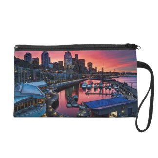 Sunrise at pier 66 looking down on bell harbor wristlet purse