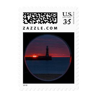 Sunrise at Roker Lighthouse England Postage Stamp