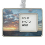 Sunrise at Sea I Pastel Seascape Christmas Ornament