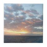 Sunrise at Sea I Pastel Seascape Small Square Tile