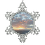 Sunrise at Sea I Pastel Seascape Snowflake Pewter Christmas Ornament