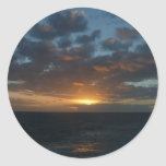 Sunrise at Sea II Ocean Seascape Photography Classic Round Sticker