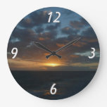 Sunrise at Sea II Ocean Seascape Photography Large Clock