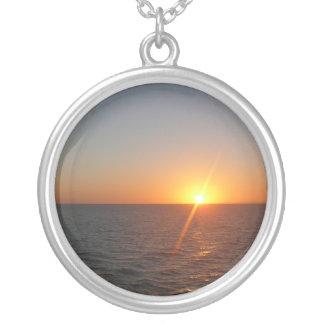 Sunrise at Sea III Ocean Horizon Seascape Silver Plated Necklace