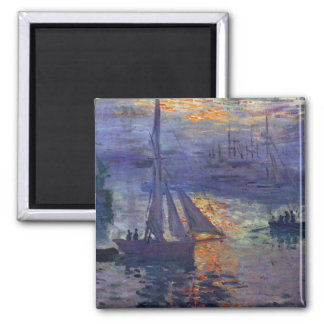 Sunrise at sea Monet sailboat painting boating art Magnet