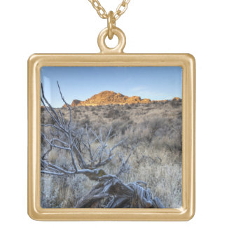 Sunrise at Squaw Creek, Owyhee County, ID Gold Plated Necklace