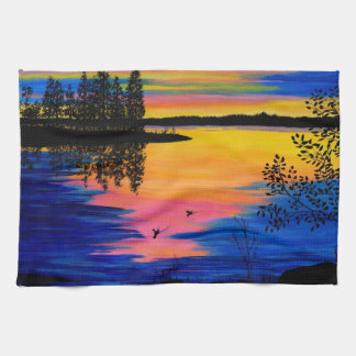 Sunrise at the Lake Hand Towels