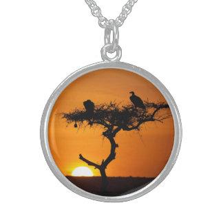 Sunrise at the Masai Mara, Kenya Round Pendant Necklace