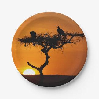 Sunrise at the Masai Mara, Kenya Paper Plate