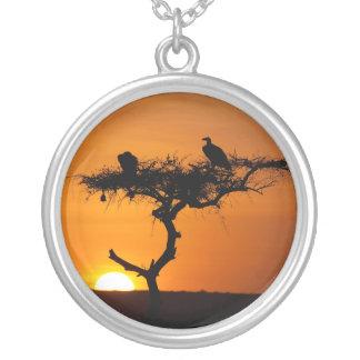 Sunrise at the Masai Mara, Kenya Silver Plated Necklace