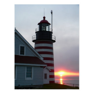 Sunrise at West Quoddy Head Lighthouse Postcard