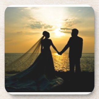 Sunrise Beach Wedding Beverage Coaster