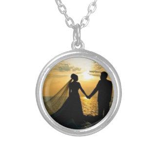 Sunrise Beach Wedding Silver Plated Necklace