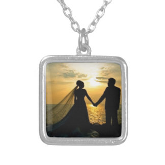 Sunrise Beach Wedding Silver Plated Necklace