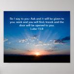 Sunrise bible verse Luke 11:9 Poster