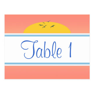 Sunrise Birds Party Table Number Cards