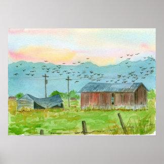 Sunrise Birds Red Barn Watercolor Landscape Art Poster