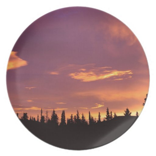 Sunrise Boreal Forest Alaska Dinner Plates