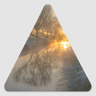 Sunrise burns off the early morning mist triangle sticker