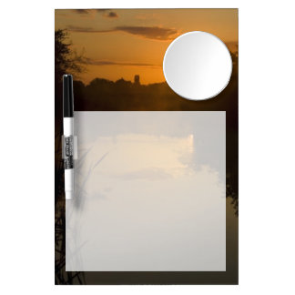 Sunrise by a lake dry erase board with mirror