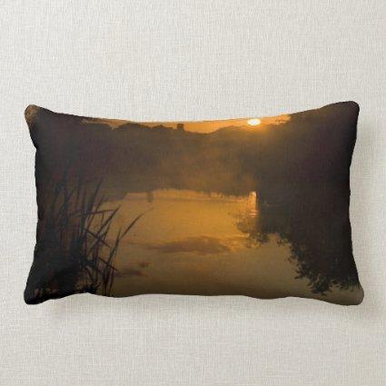 Sunrise by a lake pillow