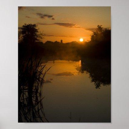 Sunrise by a lake print