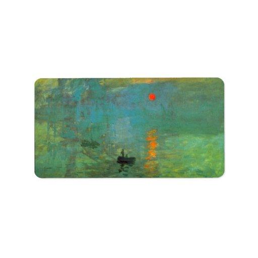Sunrise by Claude Monet Address Label