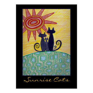 Sunrise Cats Poster