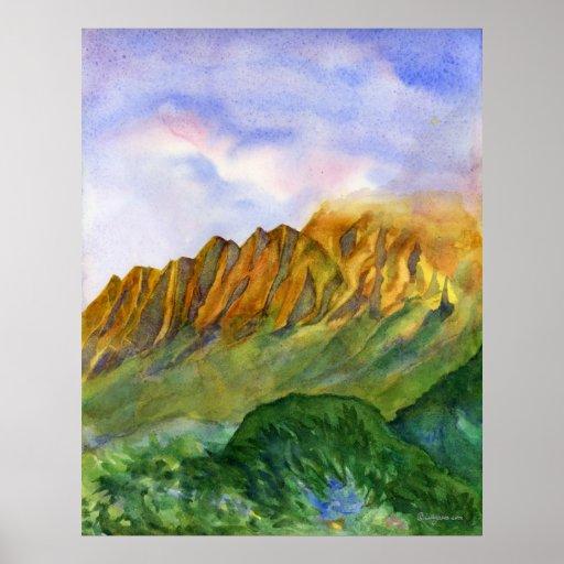 Sunrise Cliffs Kauai Hawaii Large Framed Print