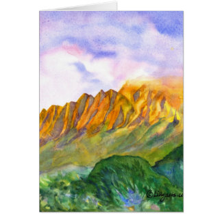 Sunrise Cliffs Kauai Watercolor Card