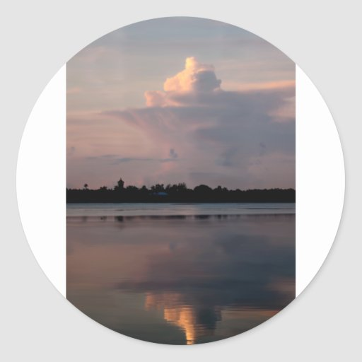 Sunrise Cloud Reflections Round Sticker