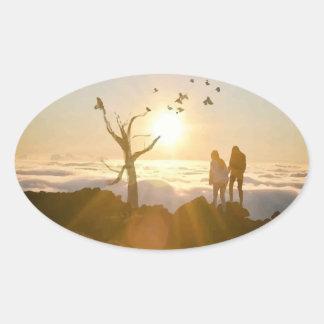 Sunrise Clouds Oval Sticker