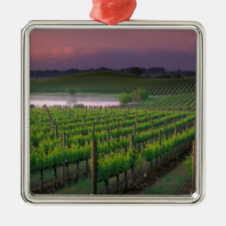 Sunrise color in the distant fog behind square metal christmas ornament