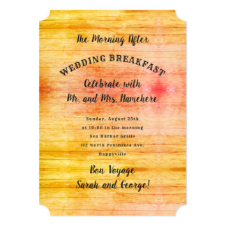 Sunrise Colors Wood Day After Wedding Breakfast Card