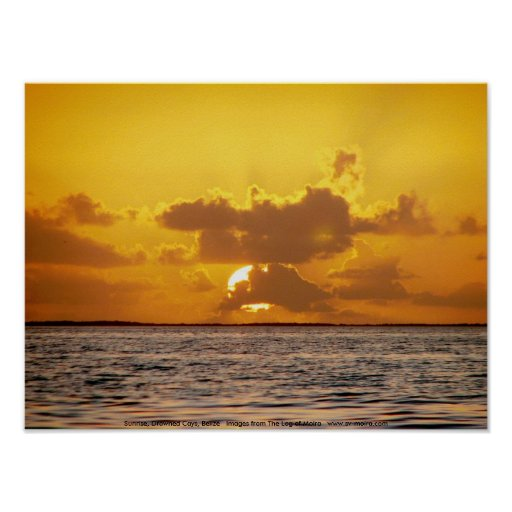 Sunrise, Drowned Cays, Belize Posters