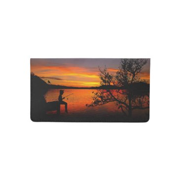USA Themed Sunrise Fishing Checkbook Cover