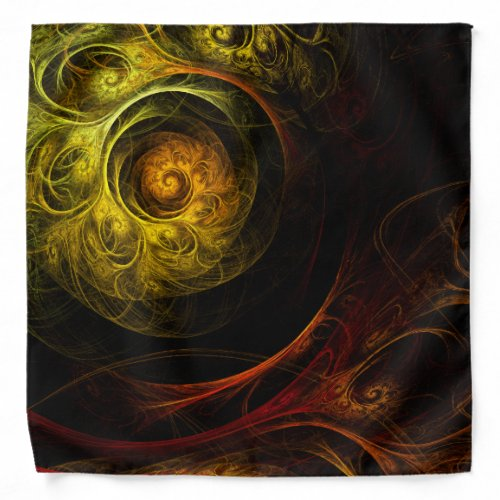 Sunrise Floral Red Abstract Art Bandana