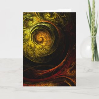 Sunrise Floral Red Abstract Art Greeting Card