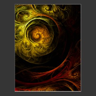 Sunrise Floral Red Abstract Art Postcard