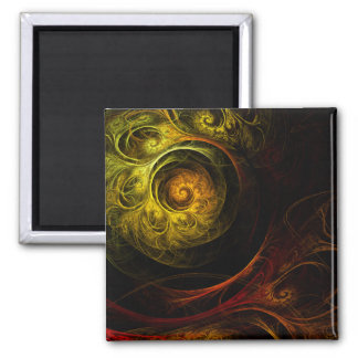 Sunrise Floral Red Abstract Art Square Magnet