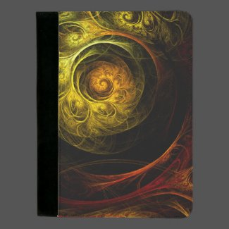 Sunrise Floral Red Abstract Art Standard Padfolio