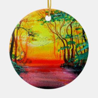 Sunrise Forest Ceramic Ornament