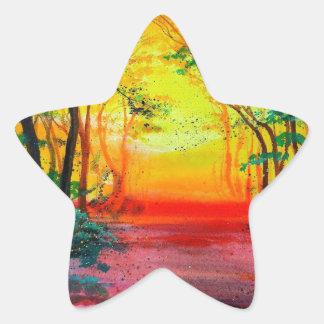Sunrise Forest Star Sticker