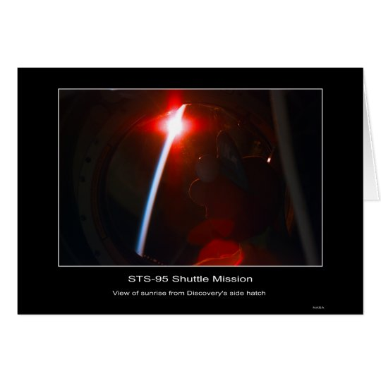 sunrise from Discovery's side hatch – STS-95 Card