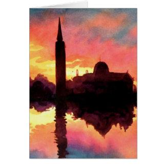 """""""Sunrise Giudecca"""" Cityscape Watercolor Card"""